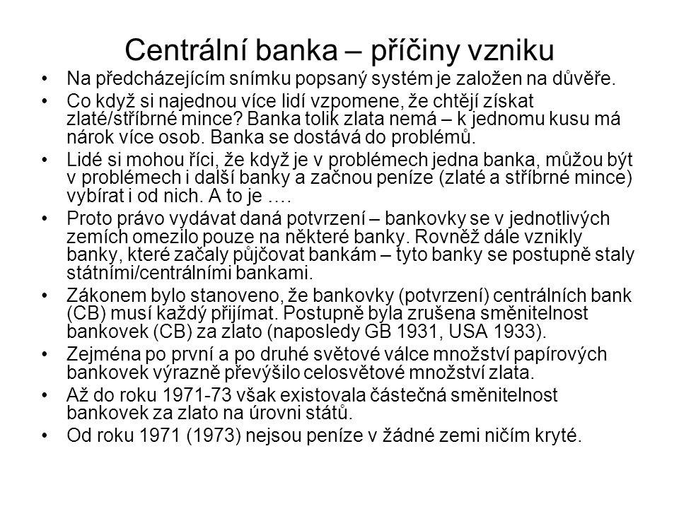 Centrální banka – příčiny vzniku