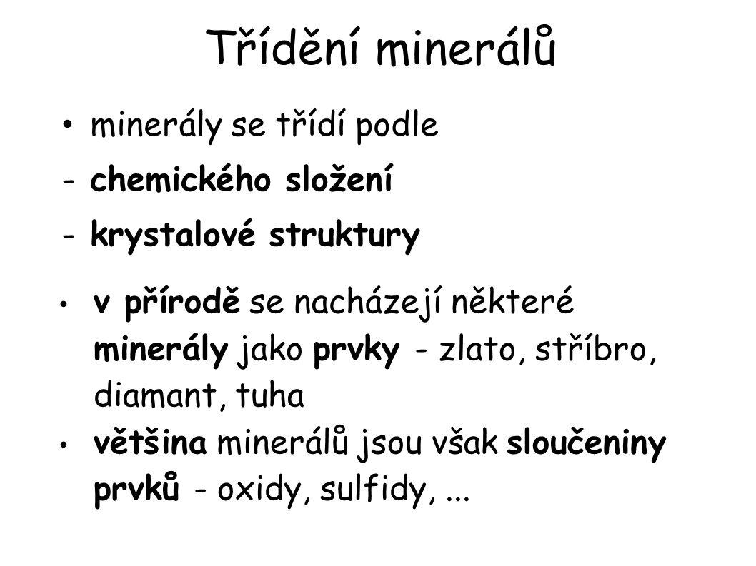 Třídění minerálů minerály se třídí podle chemického složení