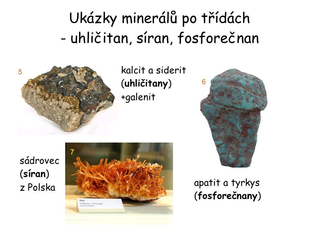 Ukázky minerálů po třídách - uhličitan, síran, fosforečnan