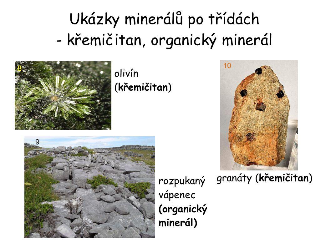Ukázky minerálů po třídách - křemičitan, organický minerál