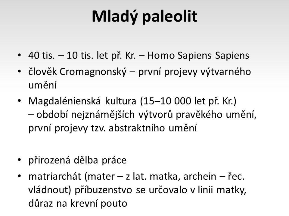 Mladý paleolit 40 tis. – 10 tis. let př. Kr. – Homo Sapiens Sapiens