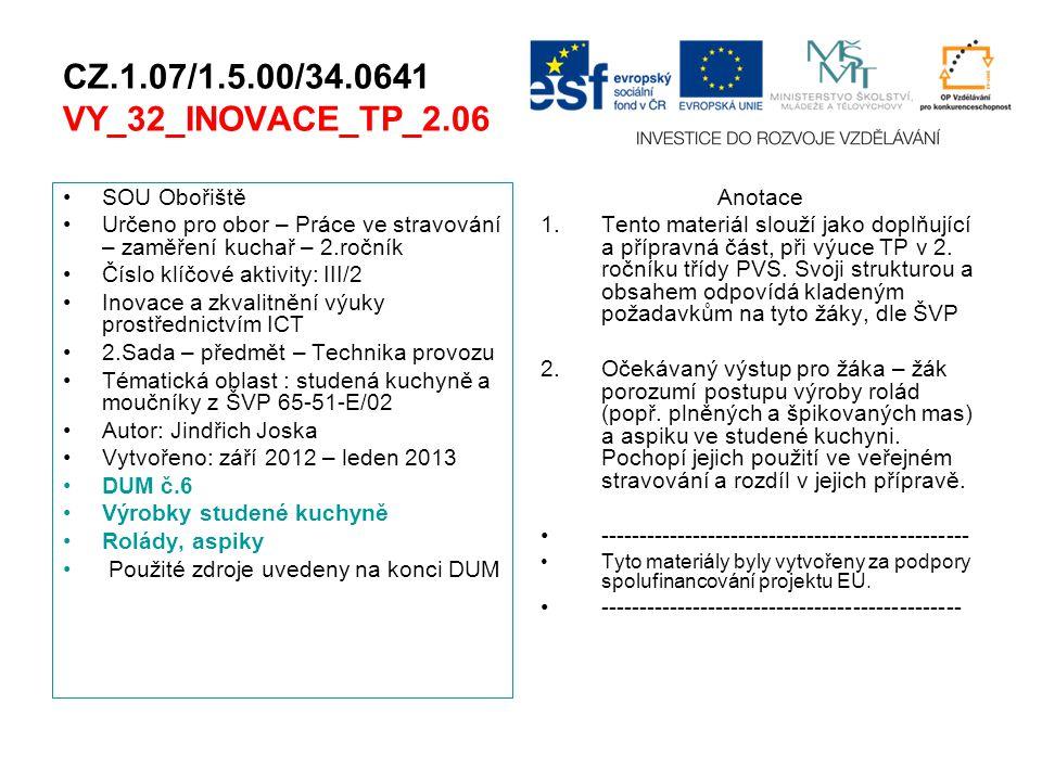 CZ.1.07/1.5.00/34.0641 VY_32_INOVACE_TP_2.06 SOU Obořiště