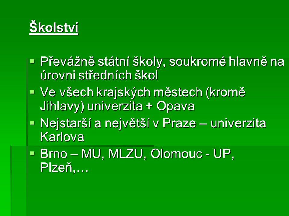 Školství Převážně státní školy, soukromé hlavně na úrovni středních škol. Ve všech krajských městech (kromě Jihlavy) univerzita + Opava.