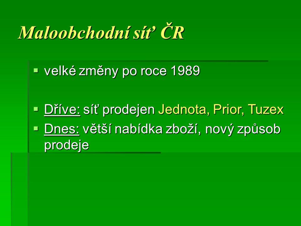 Maloobchodní síť ČR velké změny po roce 1989