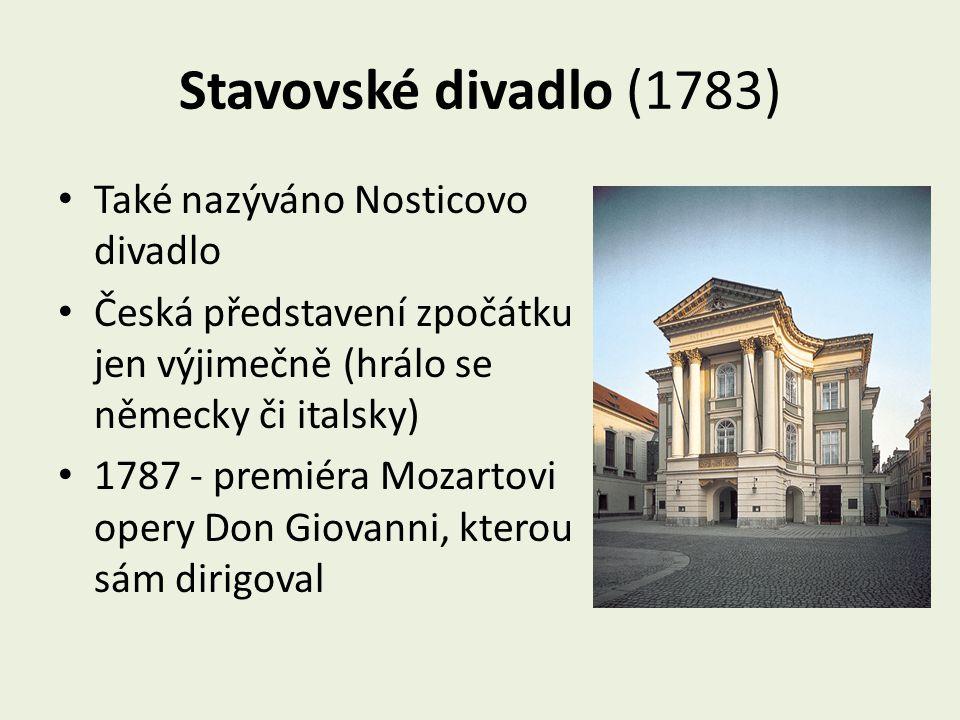 Stavovské divadlo (1783) Také nazýváno Nosticovo divadlo