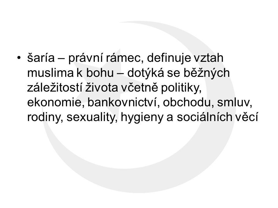 šaría – právní rámec, definuje vztah muslima k bohu – dotýká se běžných záležitostí života včetně politiky, ekonomie, bankovnictví, obchodu, smluv, rodiny, sexuality, hygieny a sociálních věcí