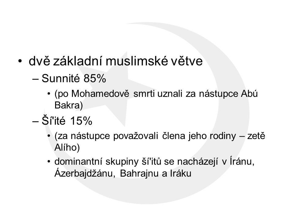 dvě základní muslimské větve