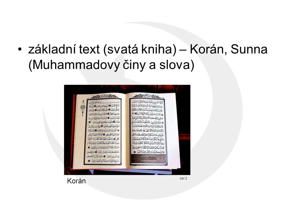 základní text (svatá kniha) – Korán, Sunna (Muhammadovy činy a slova)