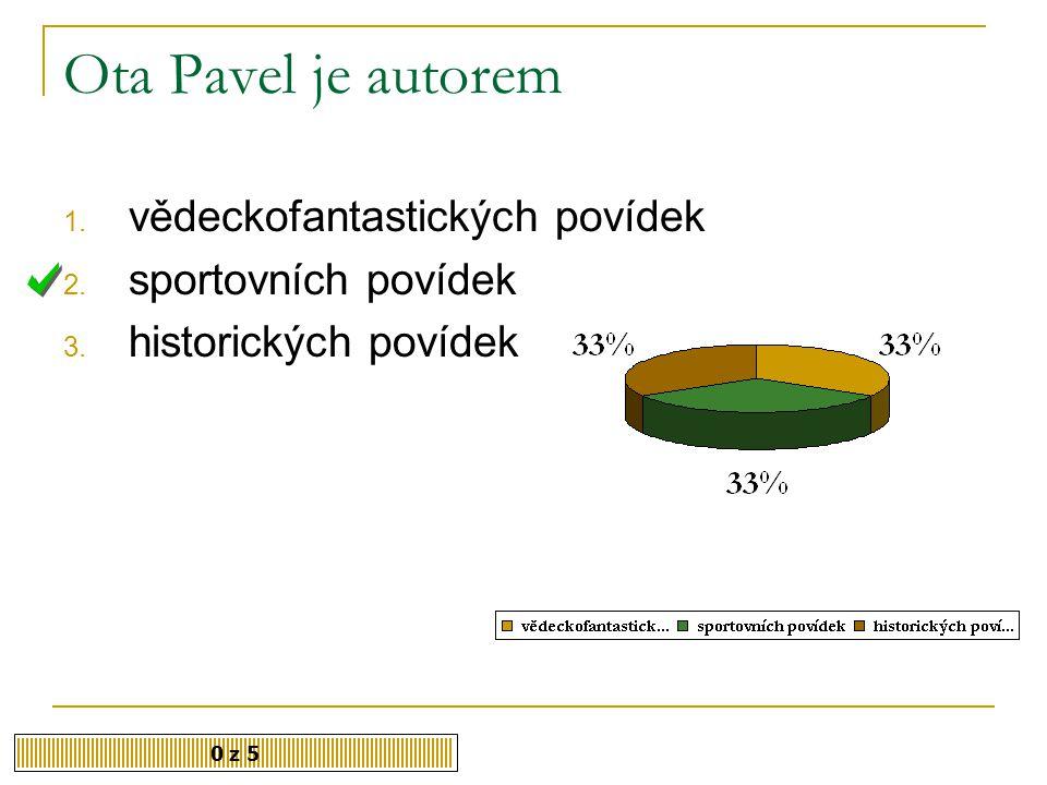 Ota Pavel je autorem vědeckofantastických povídek sportovních povídek
