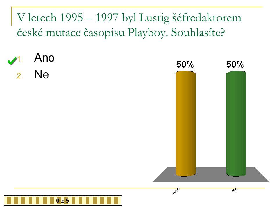 V letech 1995 – 1997 byl Lustig šéfredaktorem české mutace časopisu Playboy. Souhlasíte
