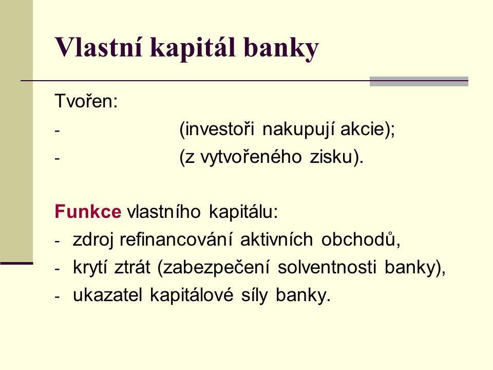 Vlastní kapitál banky Tvořen: (investoři nakupují akcie);