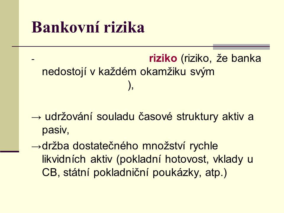 Bankovní rizika riziko (riziko, že banka nedostojí v každém okamžiku svým ),