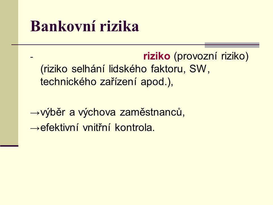 Bankovní rizika riziko (provozní riziko) (riziko selhání lidského faktoru, SW, technického zařízení apod.),