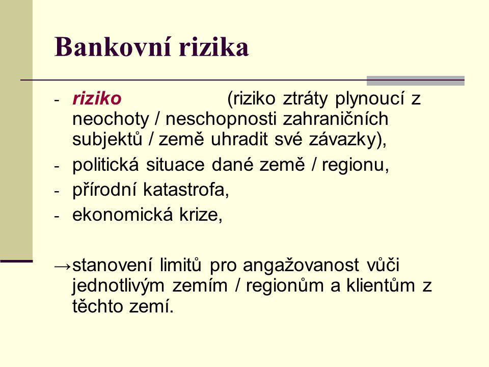Bankovní rizika riziko (riziko ztráty plynoucí z neochoty / neschopnosti zahraničních subjektů / země uhradit své závazky),