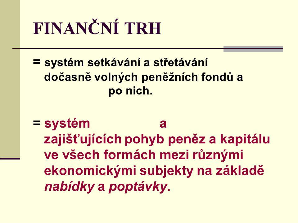FINANČNÍ TRH = systém setkávání a střetávání dočasně volných peněžních fondů a po nich.