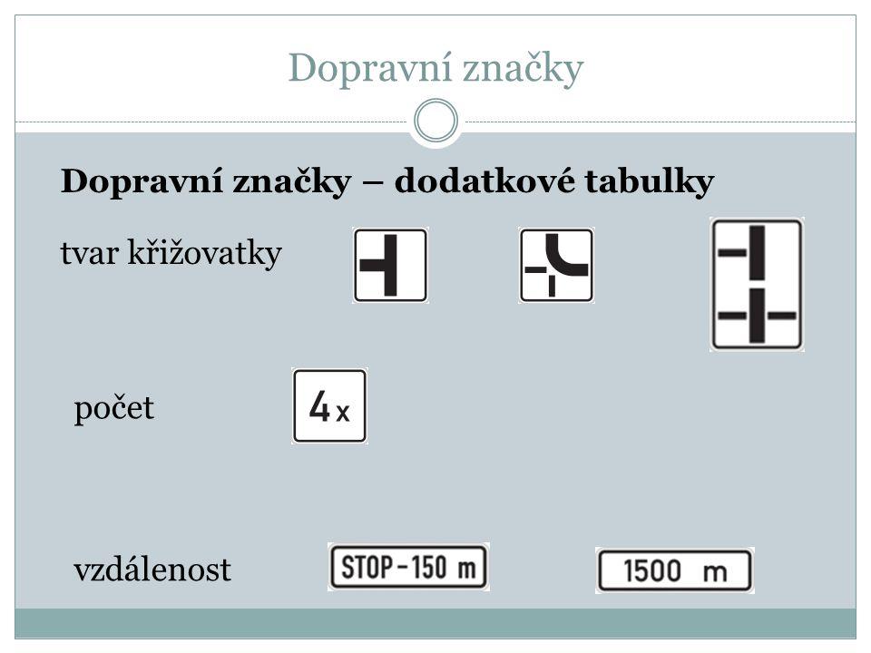 Dopravní značky Dopravní značky – dodatkové tabulky tvar křižovatky