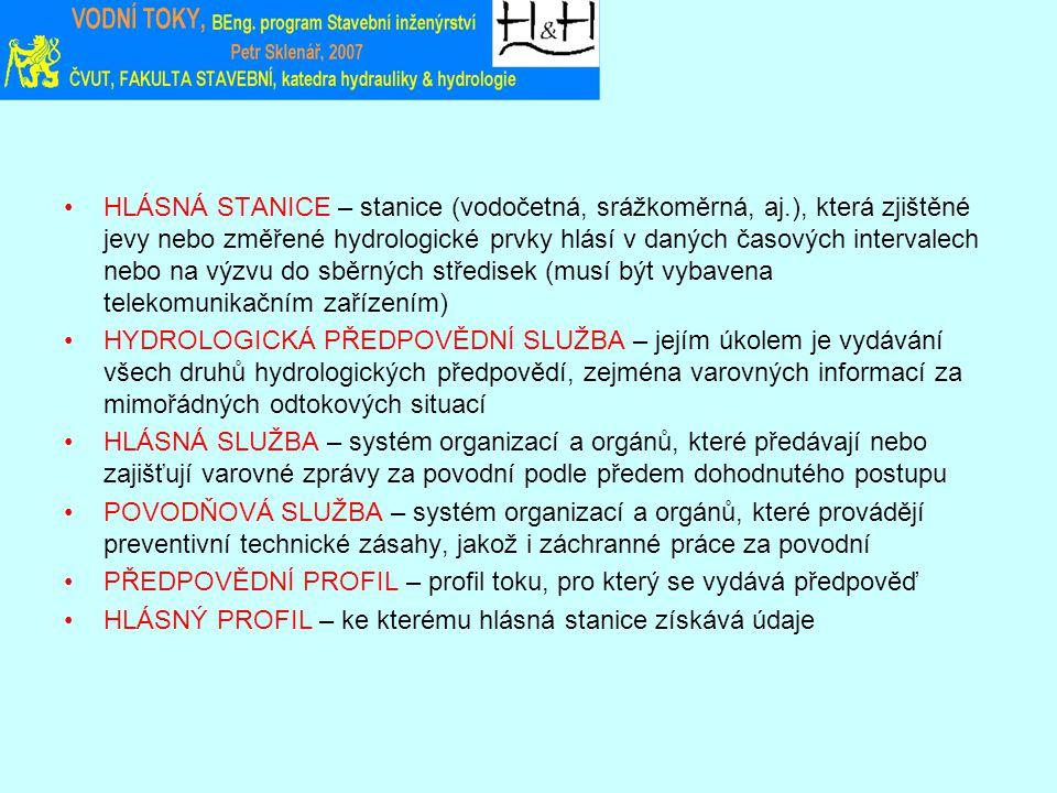 HLÁSNÁ STANICE – stanice (vodočetná, srážkoměrná, aj