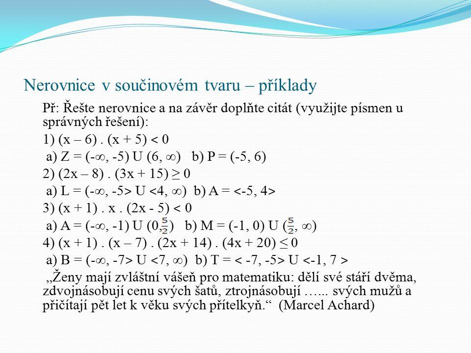 Nerovnice v součinovém tvaru – příklady