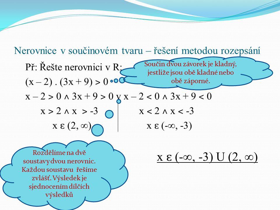 Nerovnice v součinovém tvaru – řešení metodou rozepsání
