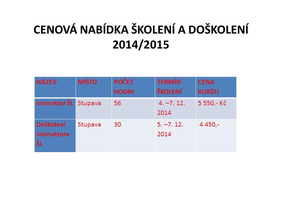 CENOVÁ NABÍDKA ŠKOLENÍ A DOŠKOLENÍ 2014/2015
