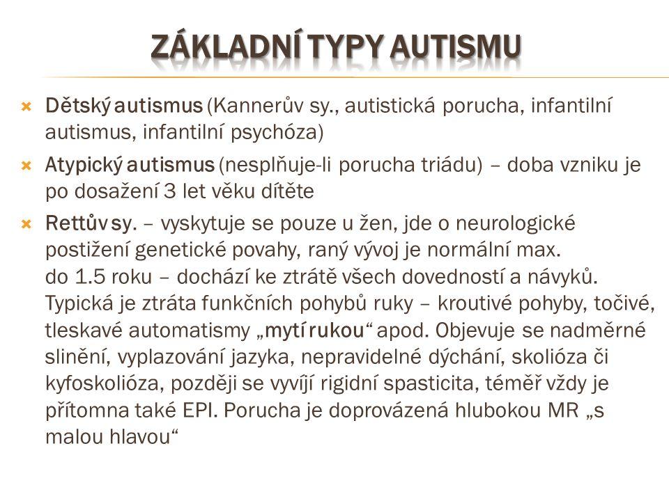 Základní typy autismu Dětský autismus (Kannerův sy., autistická porucha, infantilní autismus, infantilní psychóza)