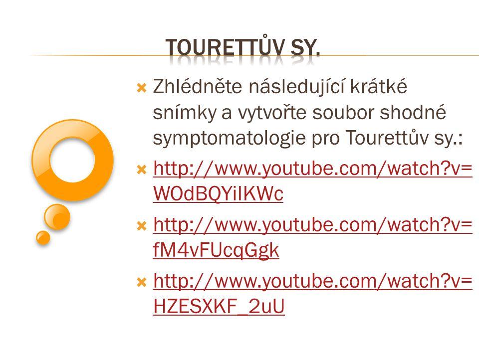 Tourettův sy. Zhlédněte následující krátké snímky a vytvořte soubor shodné symptomatologie pro Tourettův sy.: