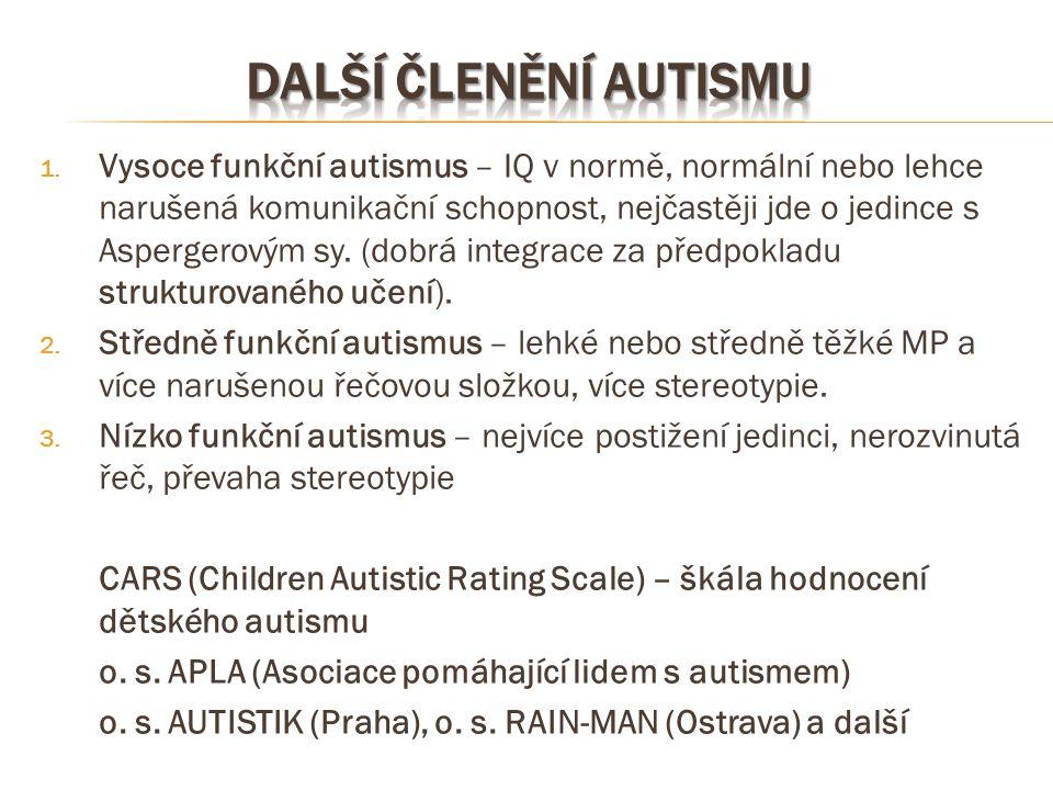 Další členění autismu