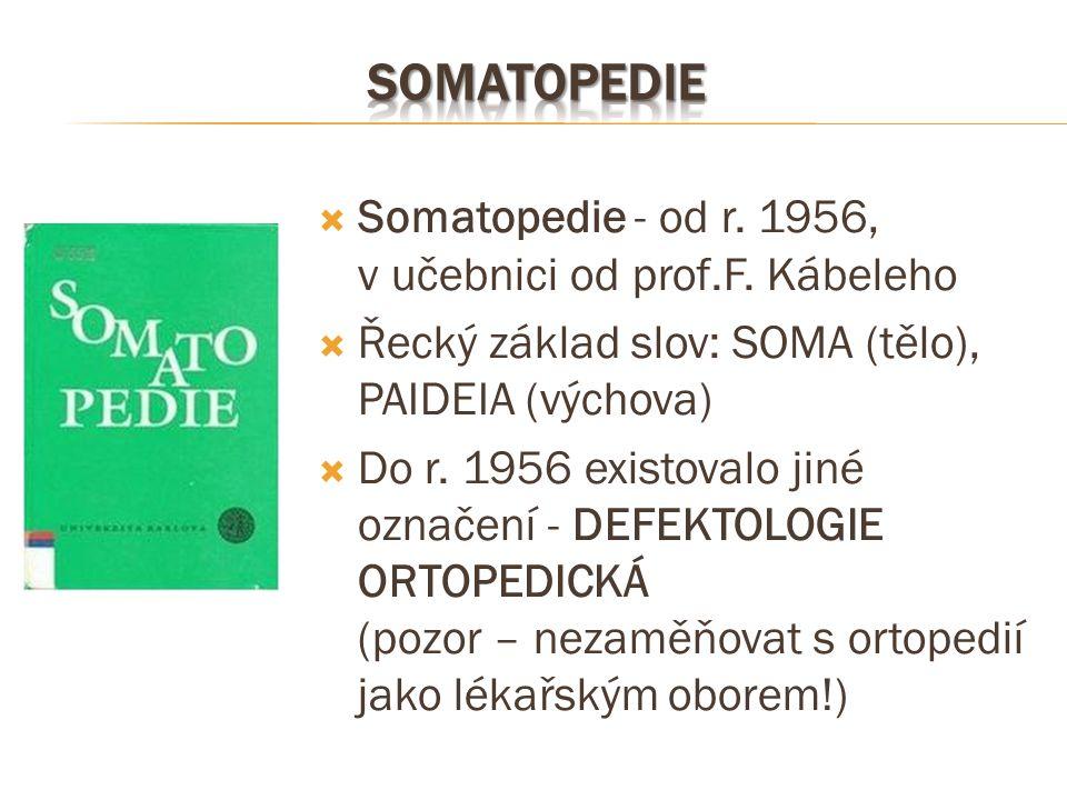 SOmatopedie Somatopedie - od r. 1956, v učebnici od prof.F. Kábeleho