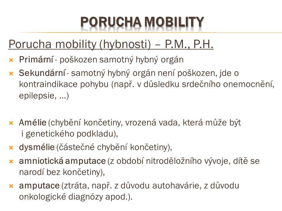 Porucha mobility Porucha mobility (hybnosti) – P.M., P.H.