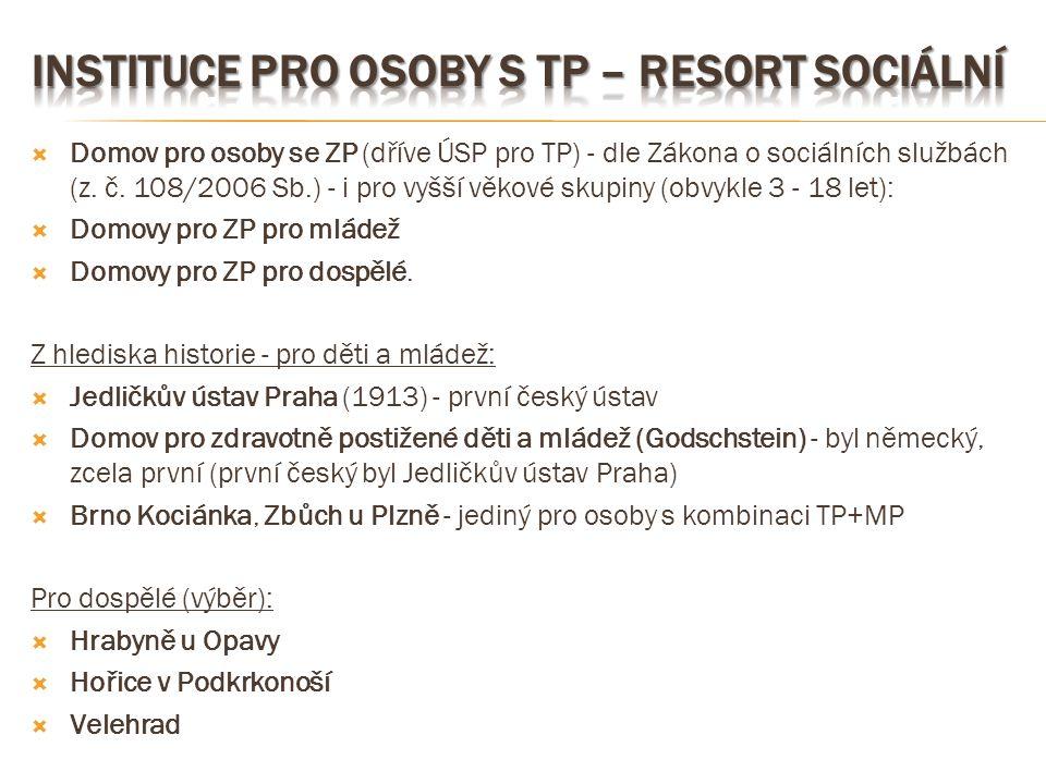Instituce pro osoby s TP – resort sociální