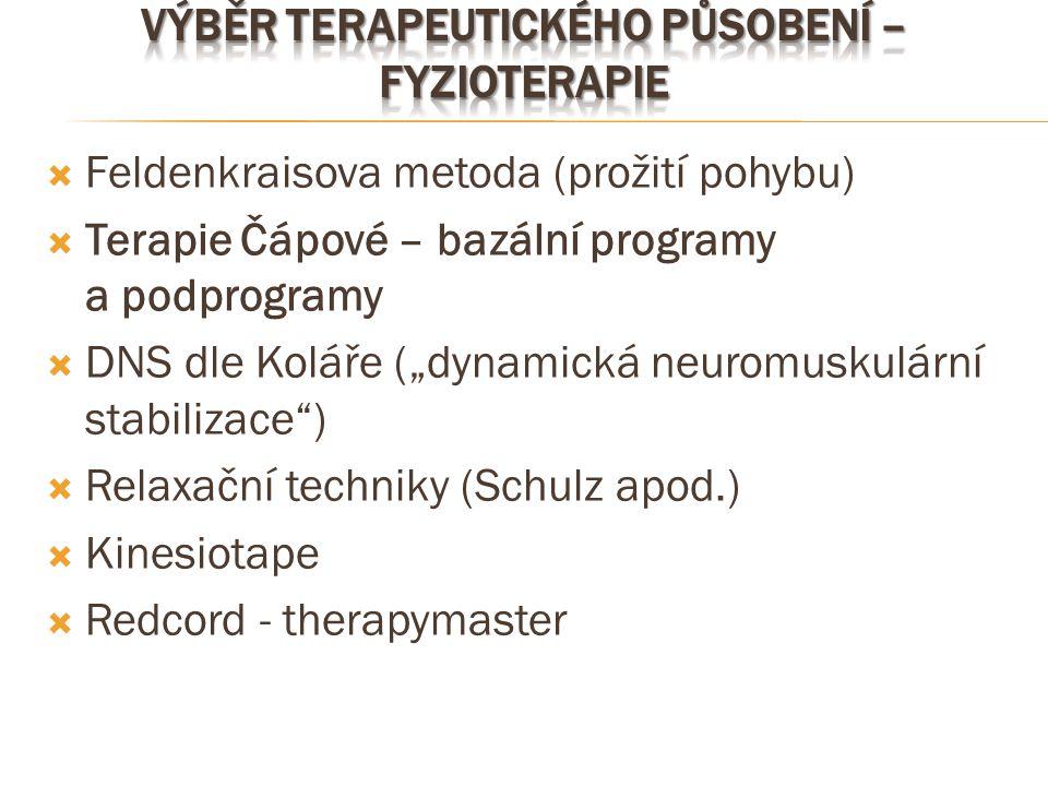 Výběr terapeutického působení – fyzioterapie