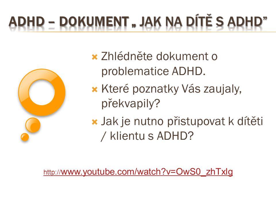 """ADHD – dokument """" Jak na dítě s ADHD"""