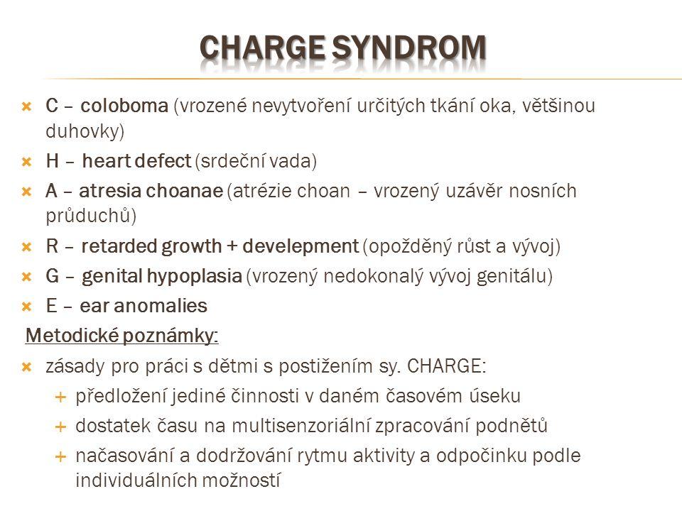CHArge syndrom C – coloboma (vrozené nevytvoření určitých tkání oka, většinou duhovky) H – heart defect (srdeční vada)