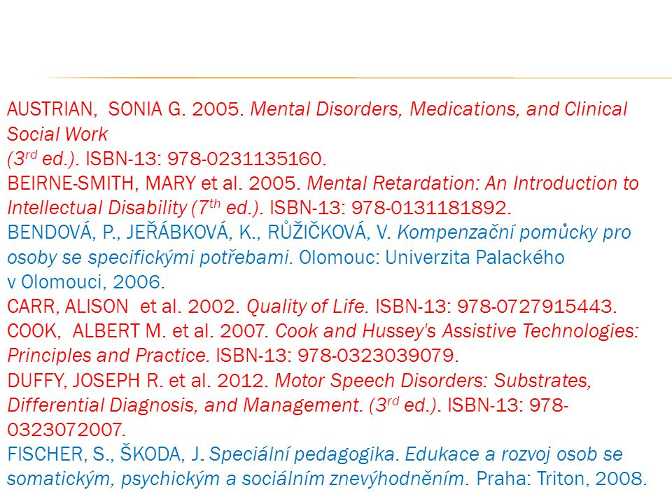 AUSTRIAN, SONIA G. 2005. Mental Disorders, Medications, and Clinical Social Work (3rd ed.). ISBN-13: 978-0231135160.