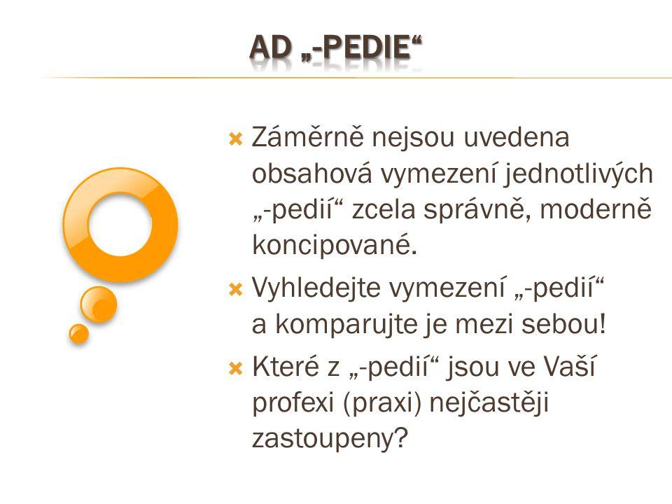 """Ad """"-pedie Záměrně nejsou uvedena obsahová vymezení jednotlivých """"-pedií zcela správně, moderně koncipované."""