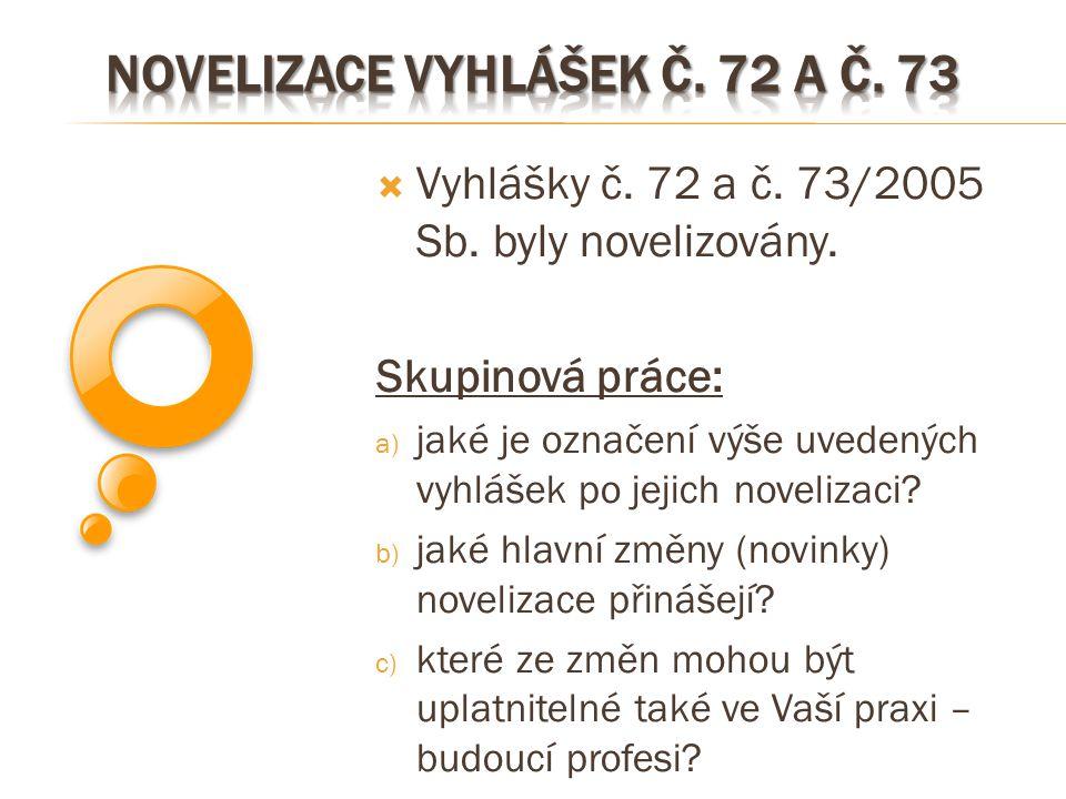 Novelizace vyhlášek č. 72 a č. 73