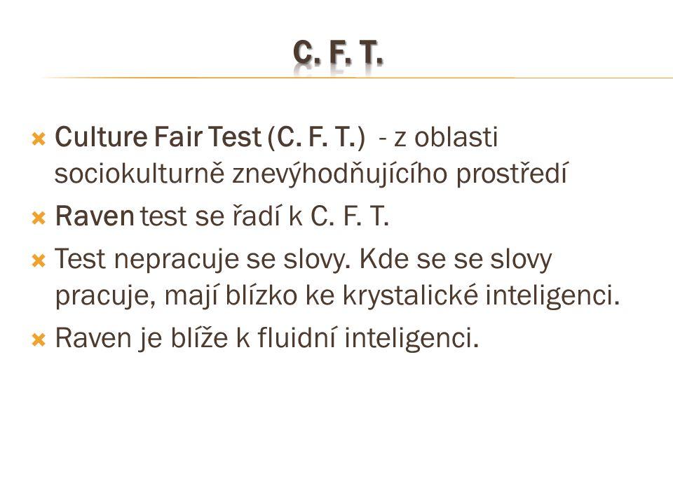 C. F. T. Culture Fair Test (C. F. T.) - z oblasti sociokulturně znevýhodňujícího prostředí. Raven test se řadí k C. F. T.