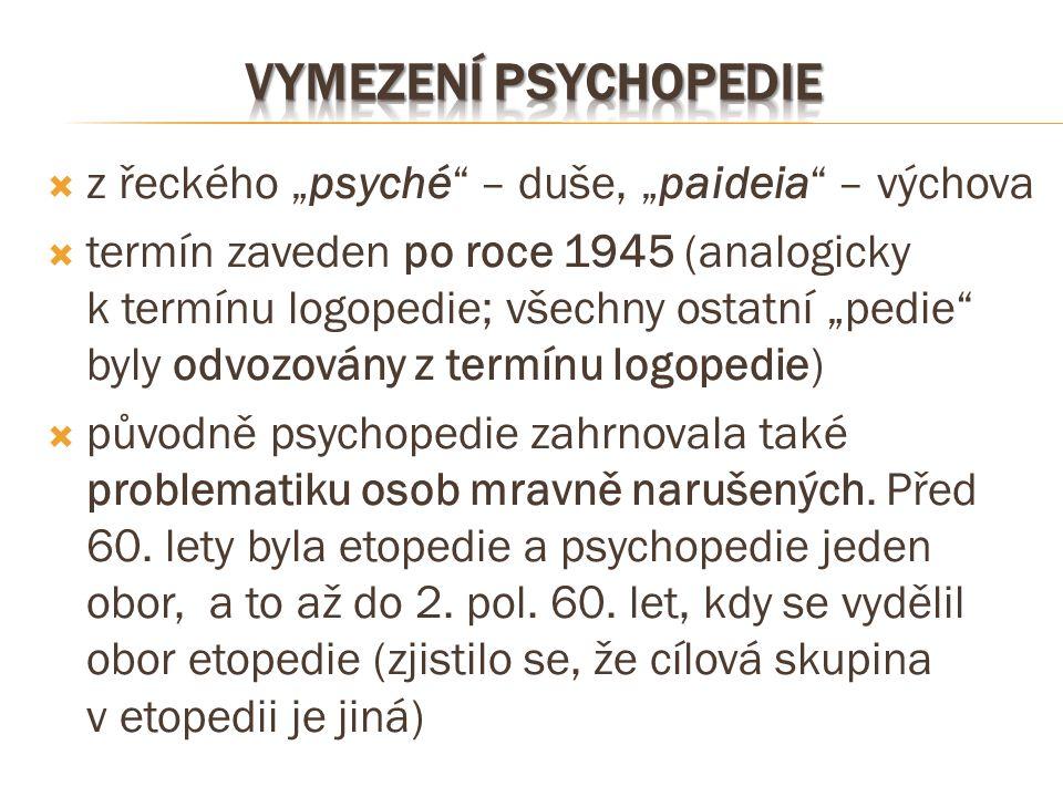 """Vymezení psychopedie z řeckého """"psyché – duše, """"paideia – výchova"""
