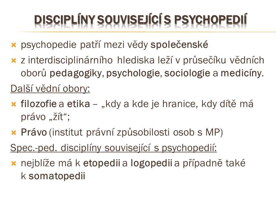 Disciplíny související s psychopedií