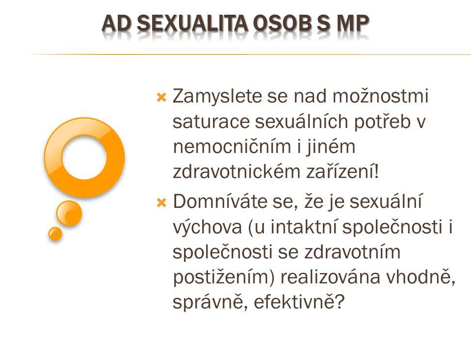 Ad sexualita osob s mp Zamyslete se nad možnostmi saturace sexuálních potřeb v nemocničním i jiném zdravotnickém zařízení!