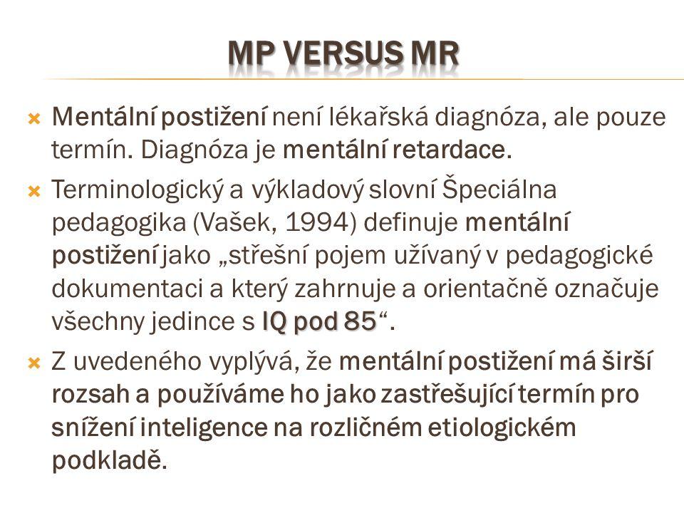 MP versus MR Mentální postižení není lékařská diagnóza, ale pouze termín. Diagnóza je mentální retardace.