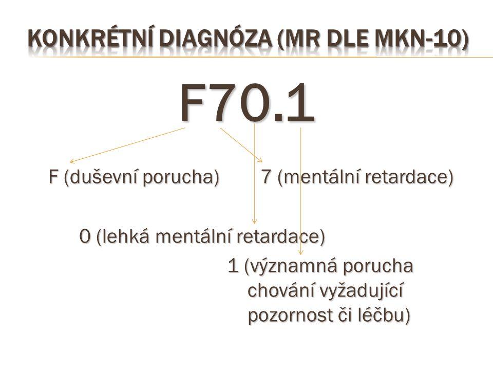 Konkrétní diagnóza (MR dle MKN-10)