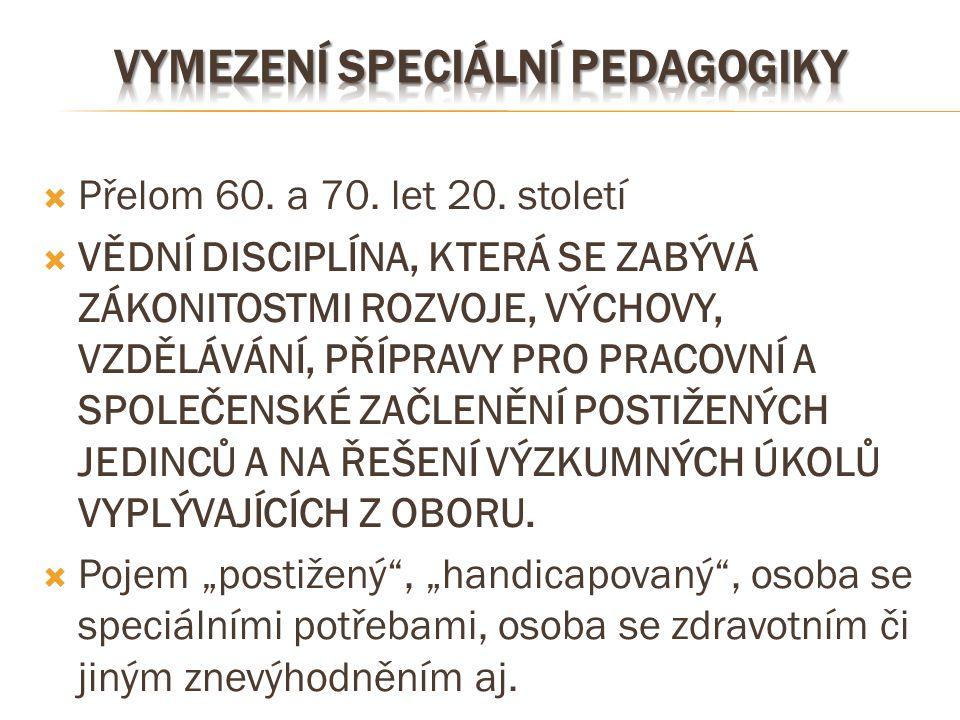 Vymezení speciální pedagogiky