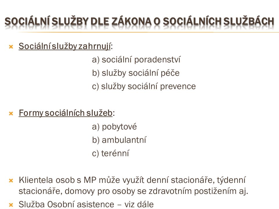 Sociální služby dle zákona o sociálních službách