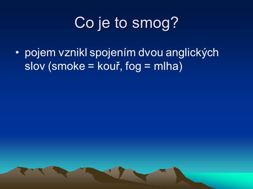 Co je to smog pojem vznikl spojením dvou anglických slov (smoke = kouř, fog = mlha)