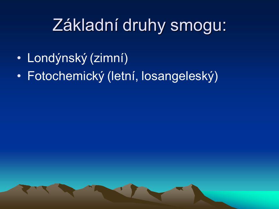 Základní druhy smogu: Londýnský (zimní)