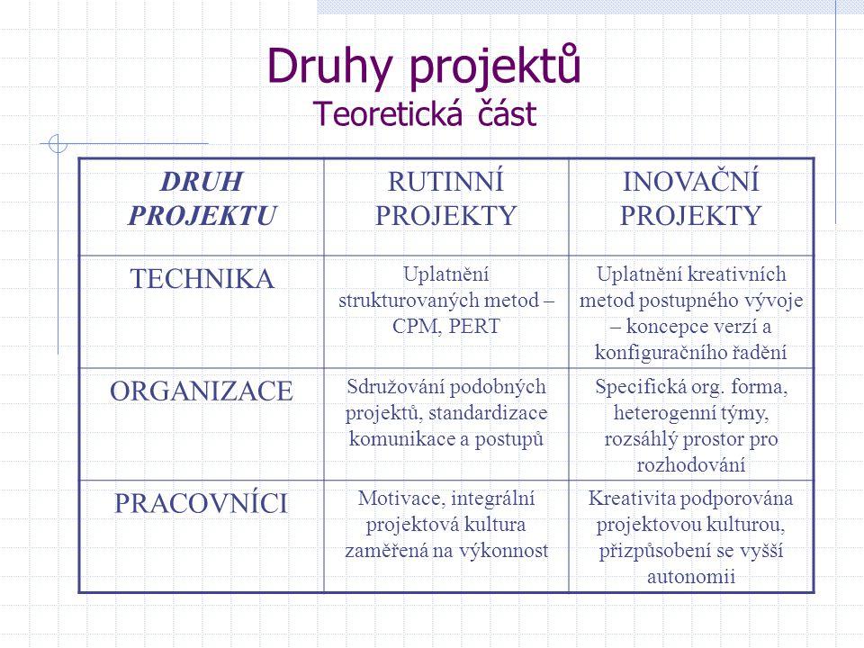 Druhy projektů Teoretická část