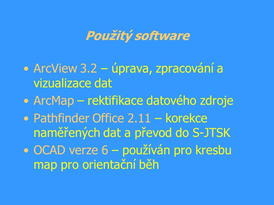 Použitý software ArcView 3.2 – úprava, zpracování a vizualizace dat. ArcMap – rektifikace datového zdroje.