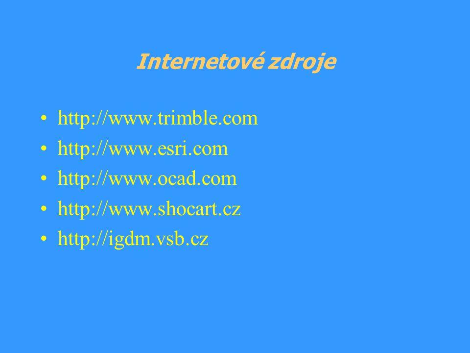 Internetové zdroje http://www.trimble.com. http://www.esri.com. http://www.ocad.com. http://www.shocart.cz.