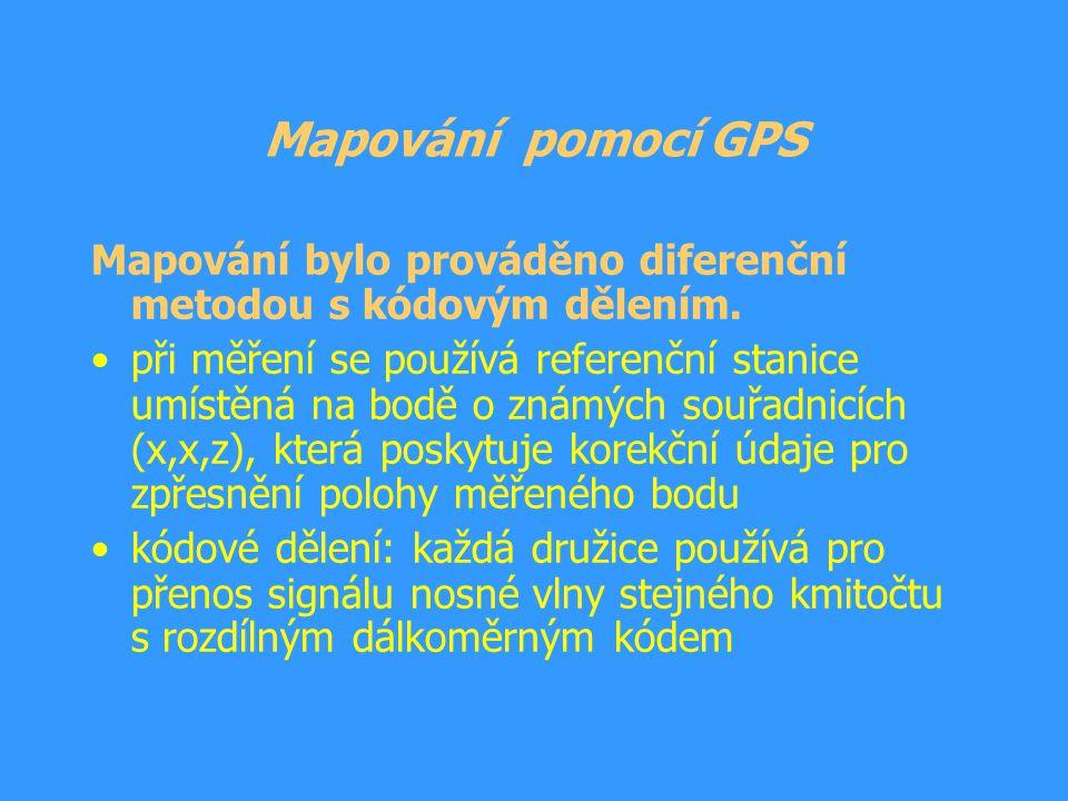 Mapování pomocí GPS Mapování bylo prováděno diferenční metodou s kódovým dělením.
